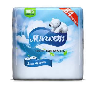 """Туалетная бумага """"Мягкоff""""белая"""