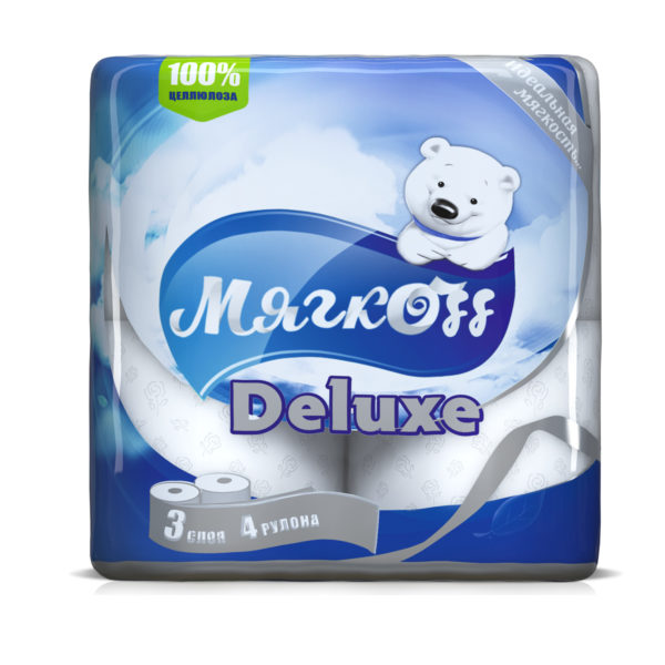 """Туалетная бумага """"Мягкоff Deluxe""""белая"""