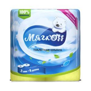 """Туалетная бумага """"Мягкоff"""" 2 слояжелтая"""