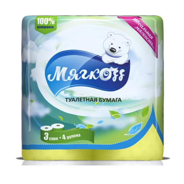 """Туалетная бумага """"Мягкоff""""желтая"""